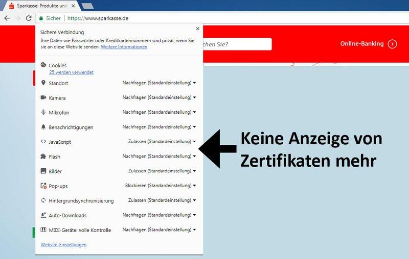 Neuerdings zeigt Chrome hier keine Infos über Zertifikate mehr an.