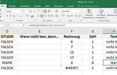 """Excel: """"Wenn Zelle (nicht)..."""