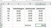 Excel: Uhrzeit richtig addieren & subtrahieren