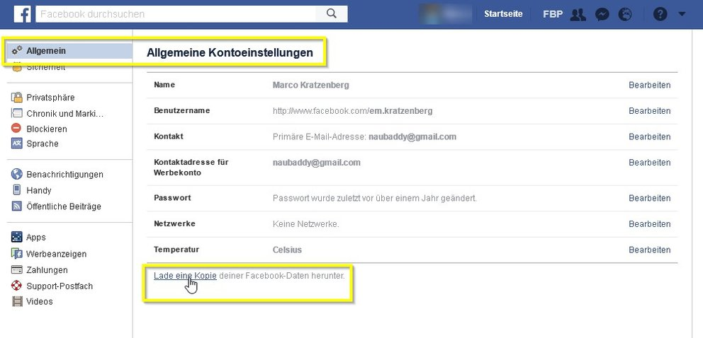 facebook-herunterladen-settings