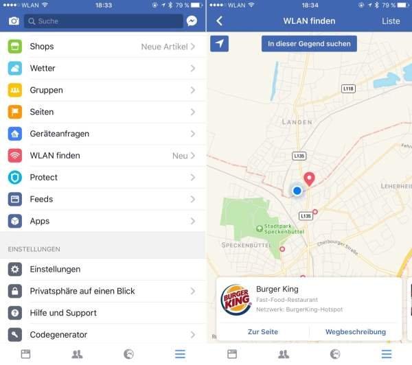 """Das """"WLAN-Suchradar"""" der Facebook-App. Bildquelle: Caschy"""
