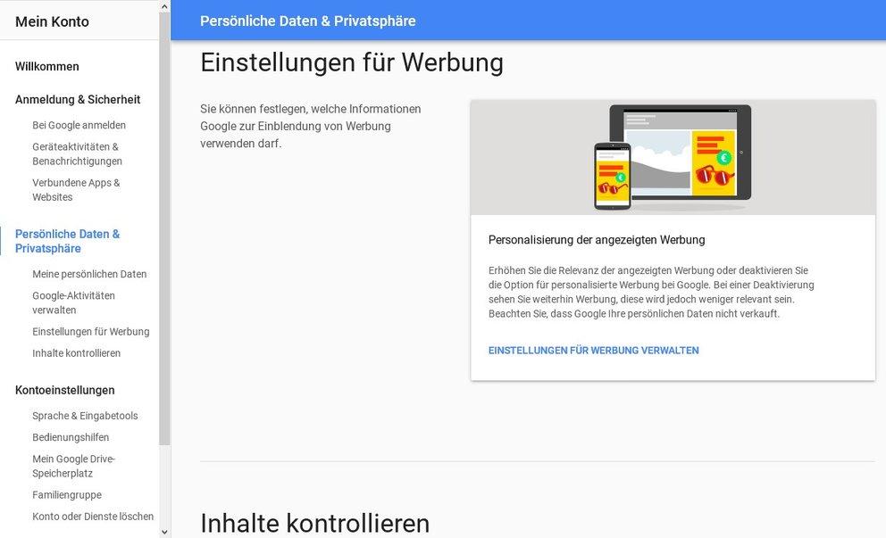 google-konto-einstellen