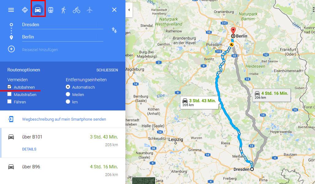 Google Maps: Autobahn vermeiden - so gehts