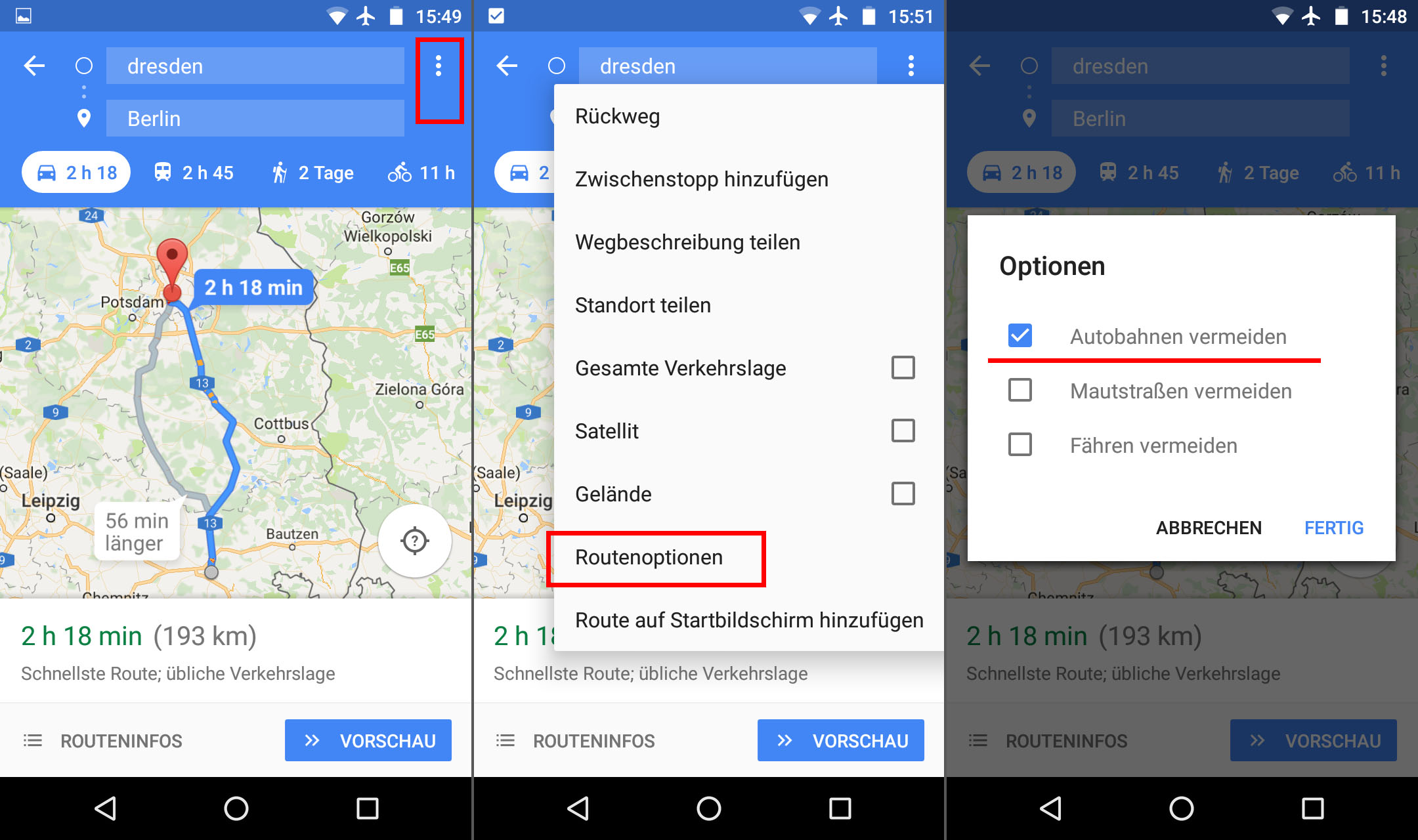 google maps autobahn vermeiden so geht s giga. Black Bedroom Furniture Sets. Home Design Ideas
