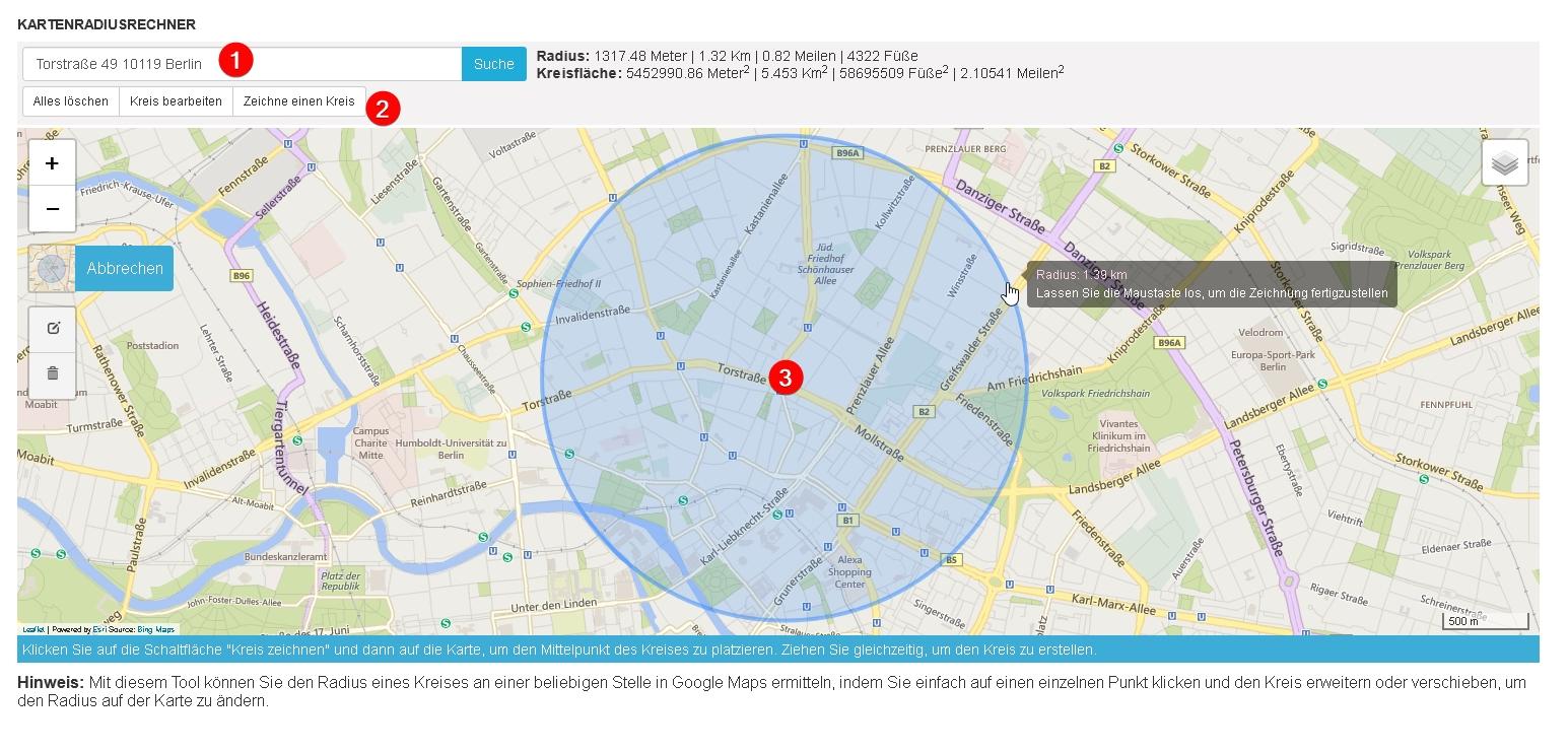Umkreissuche karte radius