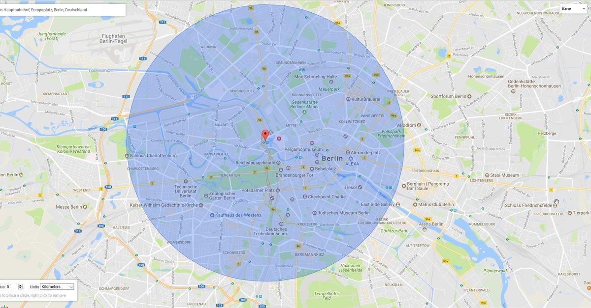 Maps Entfernungsmesser Iphone : Google maps: radius in karte zeichnen u2013 giga