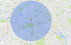 Google Maps: Radius in Karte...