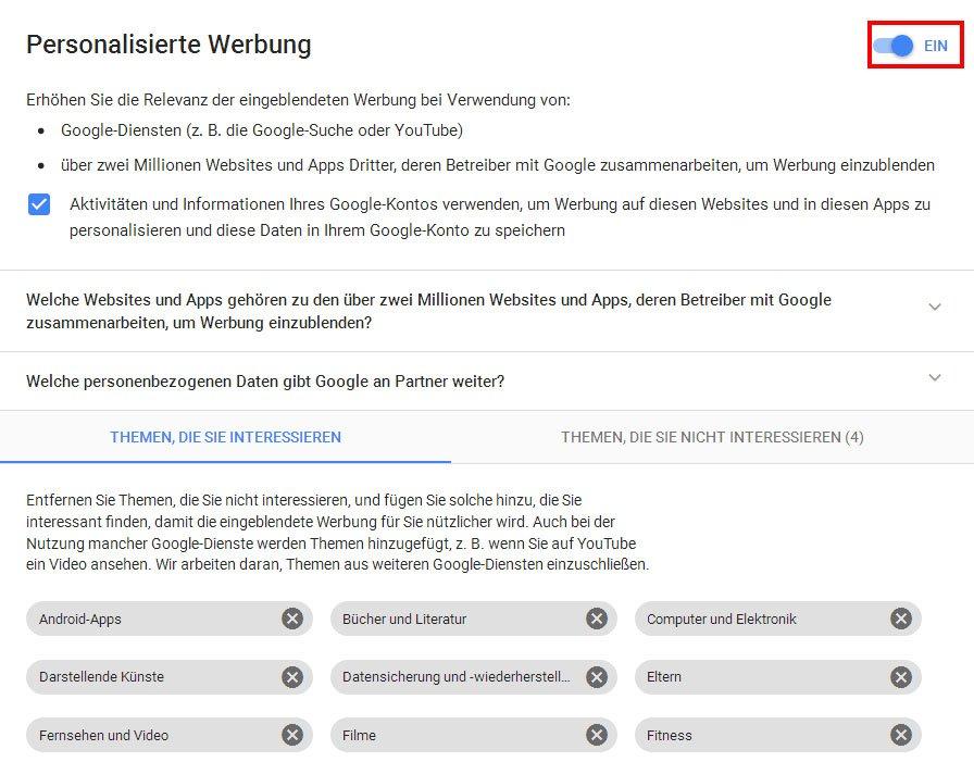 Personalisierte Google Werbung Deaktivieren So Gehts Giga