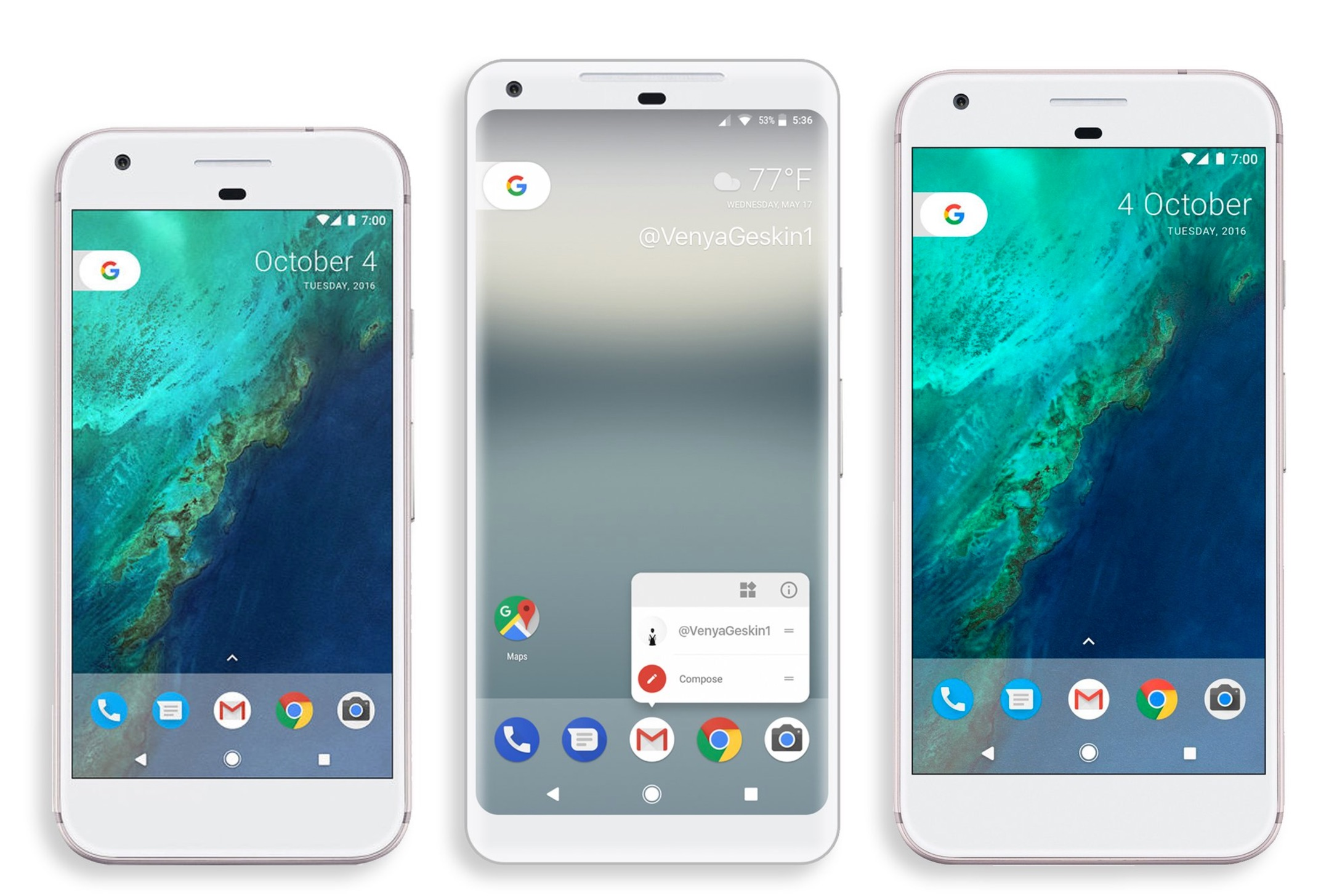 Die Geräte von links nach rechts Google Pixel Google Pixel 2 XL Google Pixel XL Bildquelle Benjamin Geskin