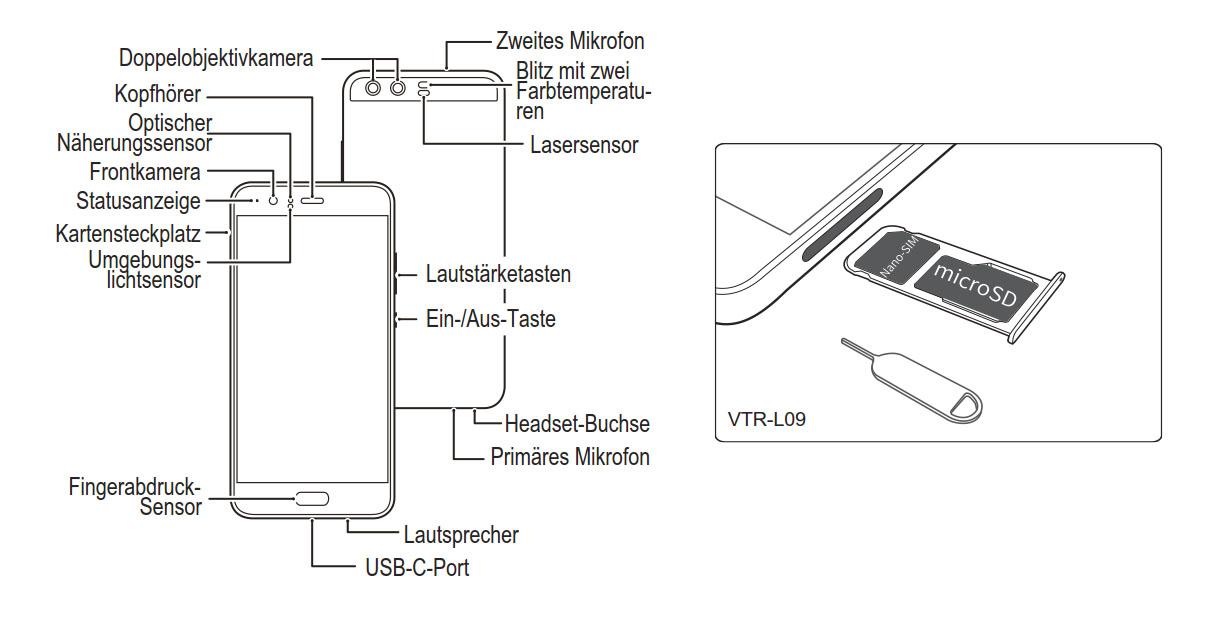 huawei p10 sim karte einsetzen Huawei P10: Bedienungsanleitung downloaden