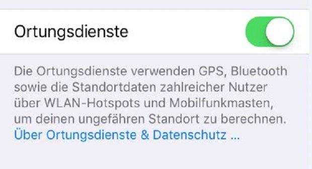 iPhone Ortungsdienste aktivieren