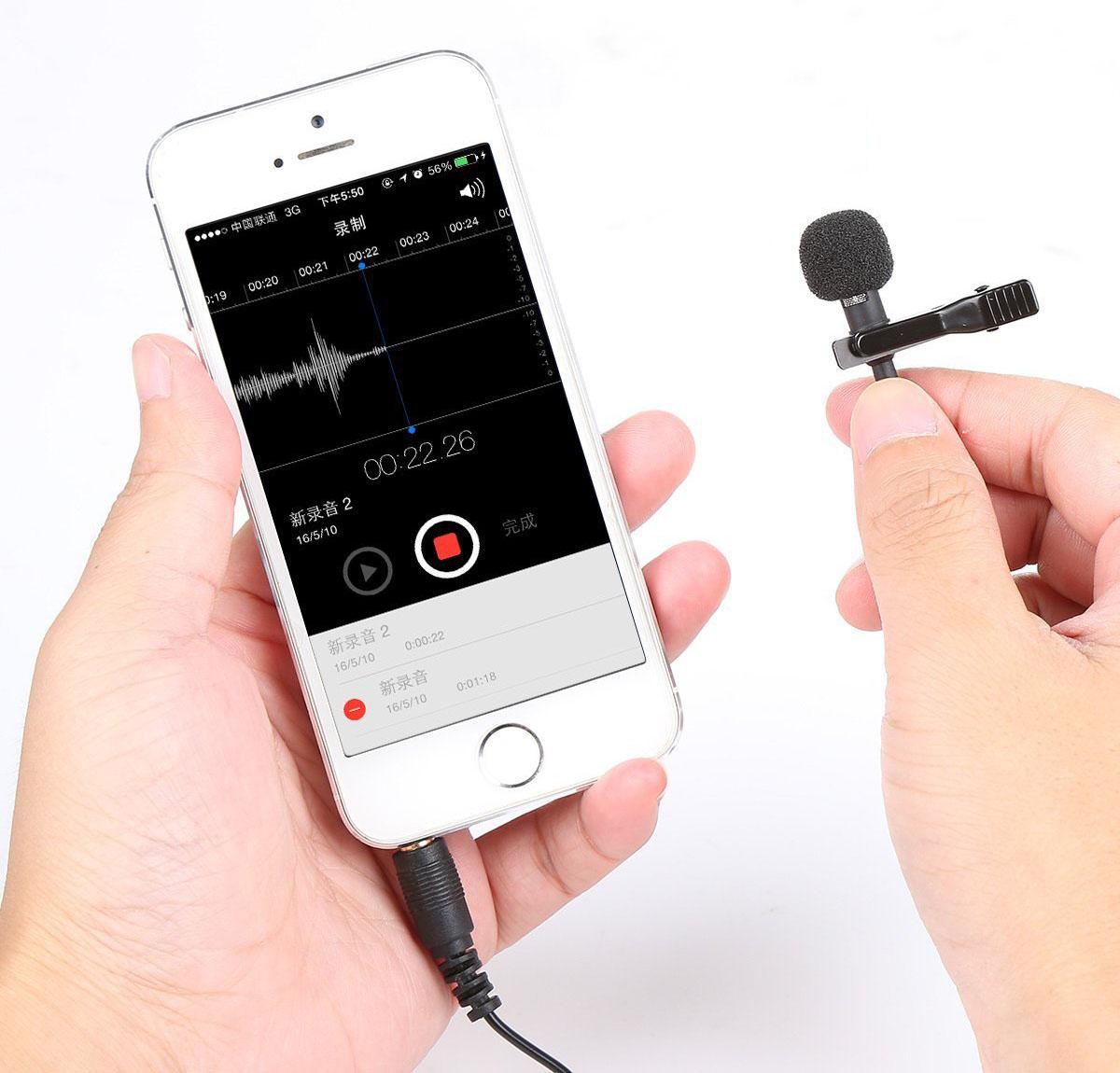 kompatibel mit iPhone iPad Kondensator Freisprechmikrofon 3,5 mm Stecker Ansteckmikrofon Android Windows