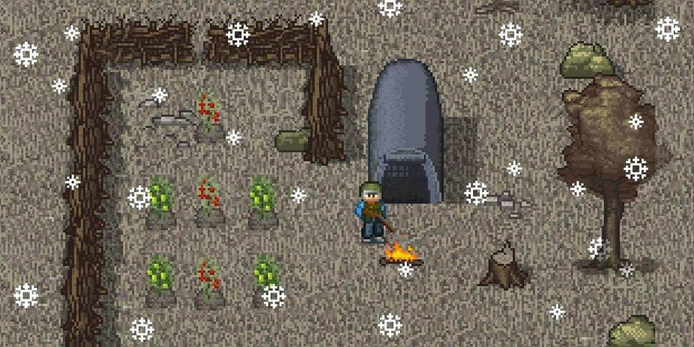 Mini DAYZ lässt euch ein Zelt aufstellen und Beeren anpflanzen.