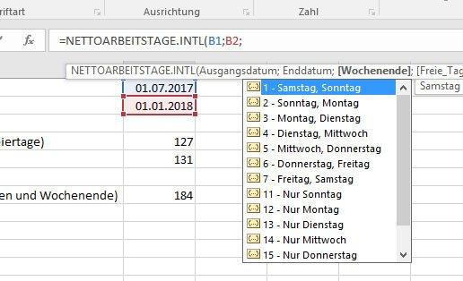 Der dritte Paramter bestimmt anhand einer Zahl, welche Tage das Wochenende sind.