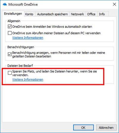 "OneDrive: Hier deaktiviert ihr ""Dateien bei Bedarf""."