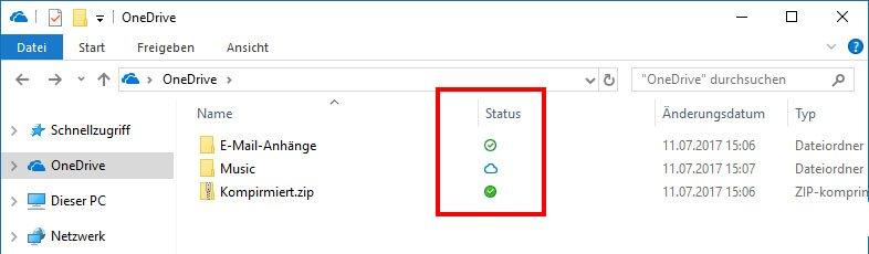 OneDrive-Dateien können drei verschiedene Status haben.