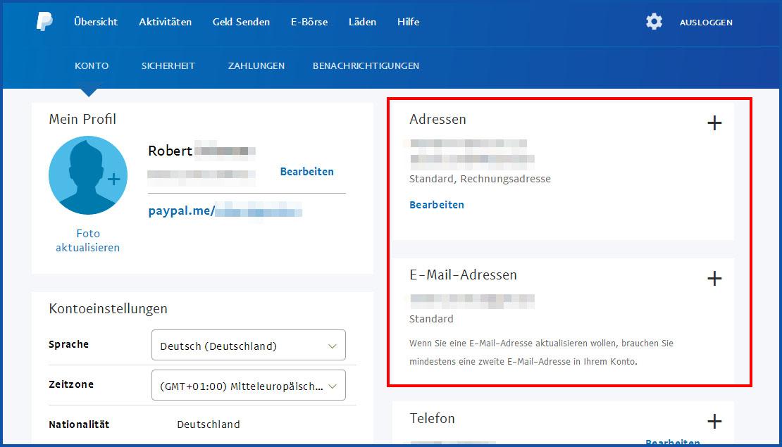 Paypal Konto Email Г¤ndern