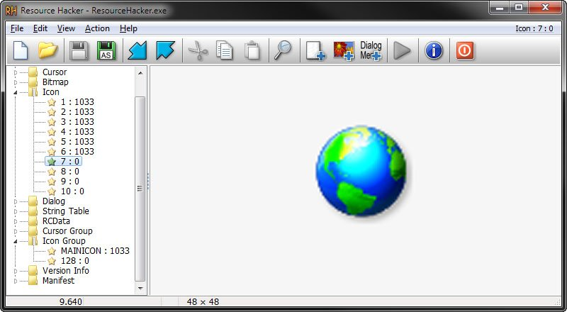 Resource Hacker zeigt integrierte Icon- und Symbole innerhalb einer Datei an, die ihr speichern könnt.