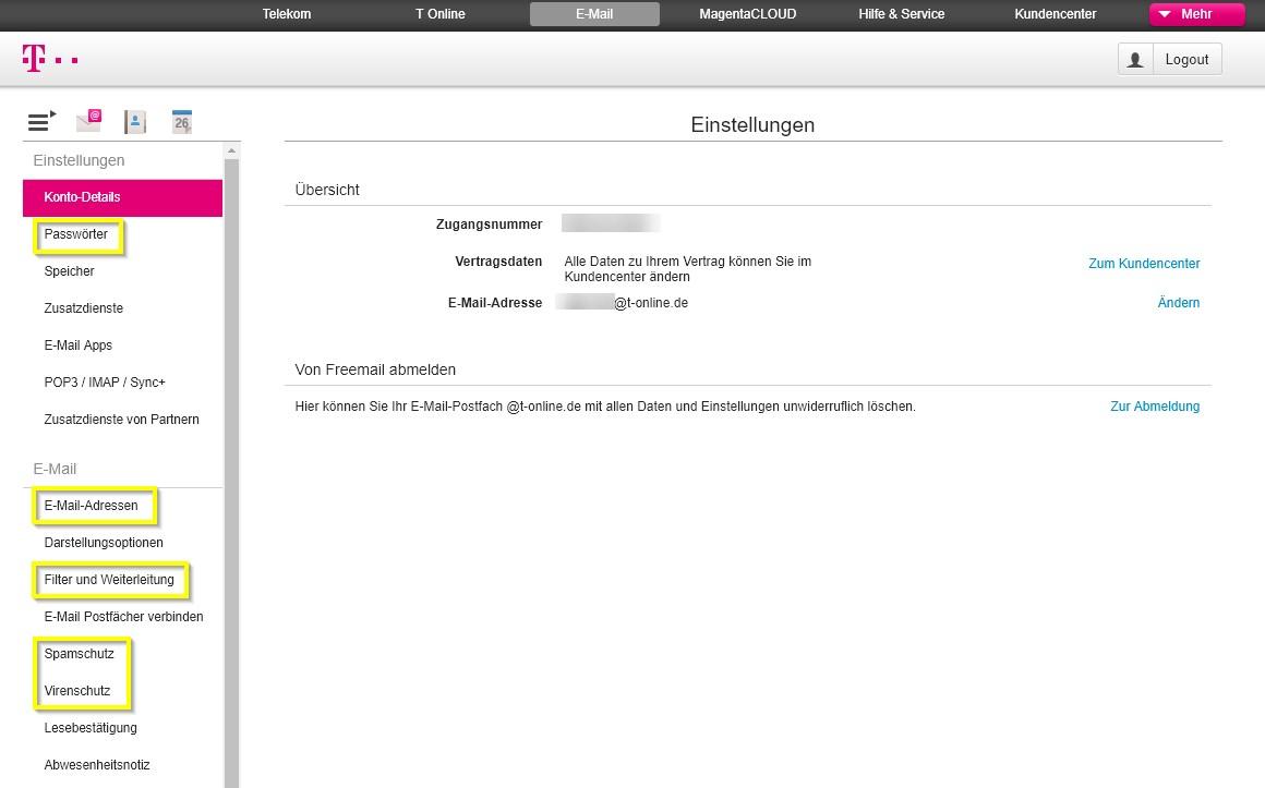 T Online Email Center Klassisch