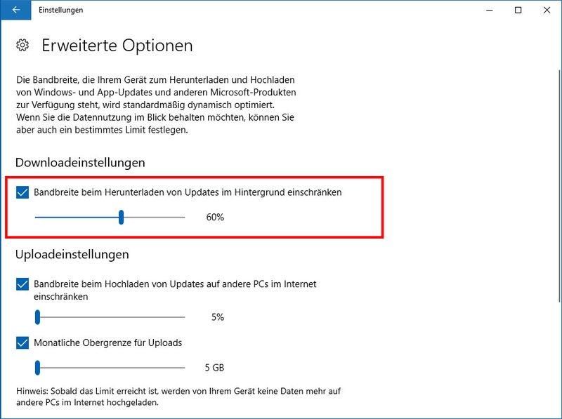 Hier könnt ihr die Download- und Upload-Raten für Updates begrenzen.