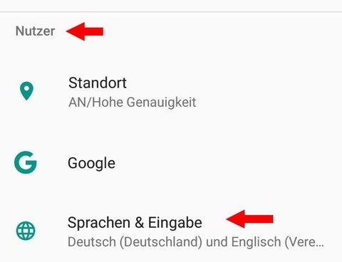 Android 7 Sprache ändern Nutzer Sprache Eingabe