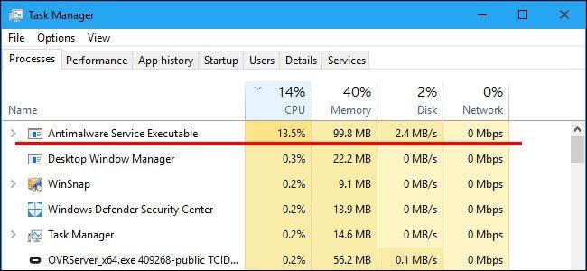 """Der Prozess """"Antimalware Service Executable"""" kann die CPU stark beanspruchen. Bildquelle: howtogeek.com"""