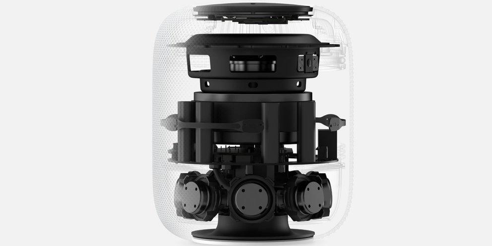 Apple HomePod: Sieben Hochtönern jeder mit einem eigenen Verstärker (Quelle: Apple)