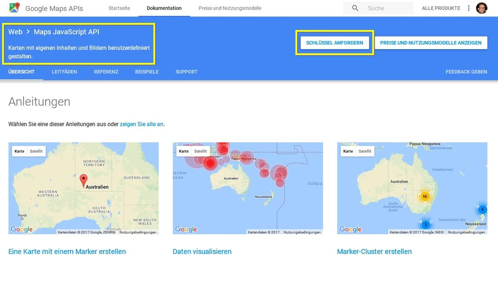Google-Maps-API-Key-holen