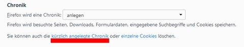 Suchverlauf löschen Mozilla Chronik