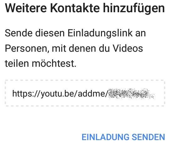 YouTube Kontakte hinzufügen Einladung senden