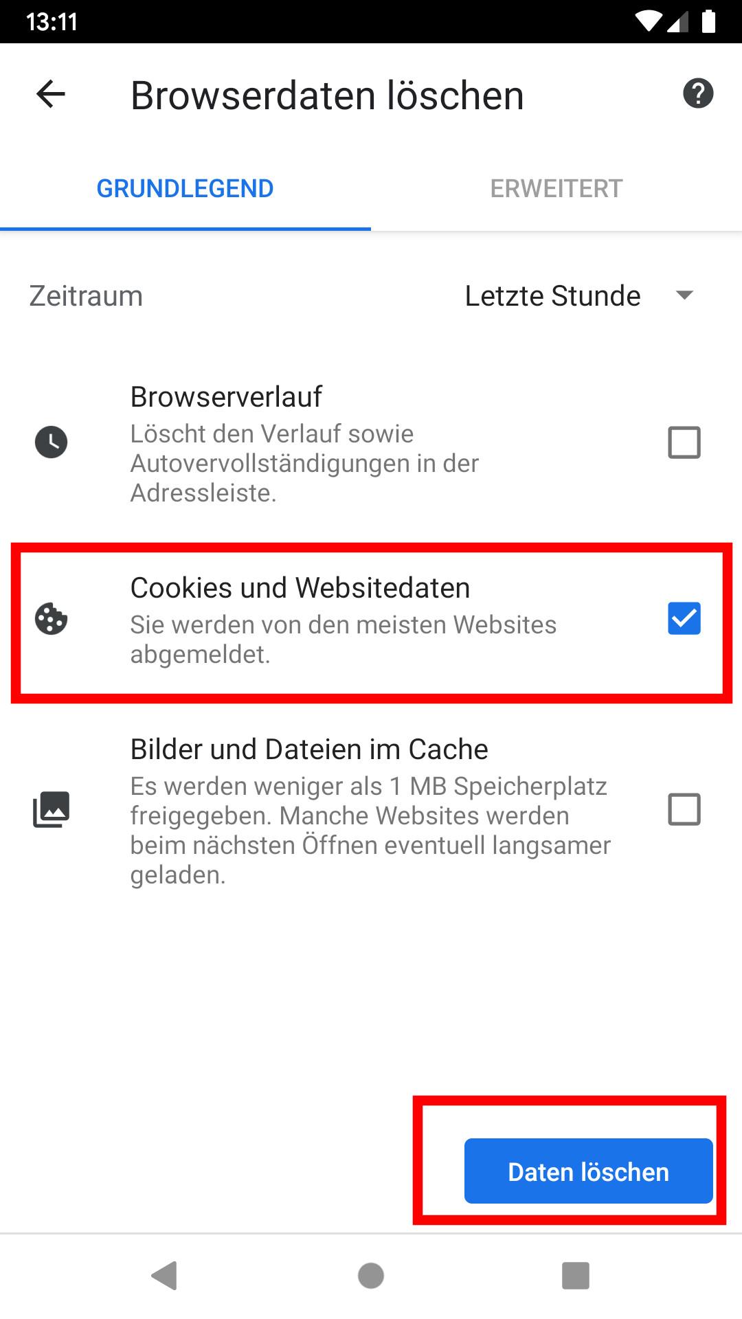 Android Chrome Suchvorschläge Löschen