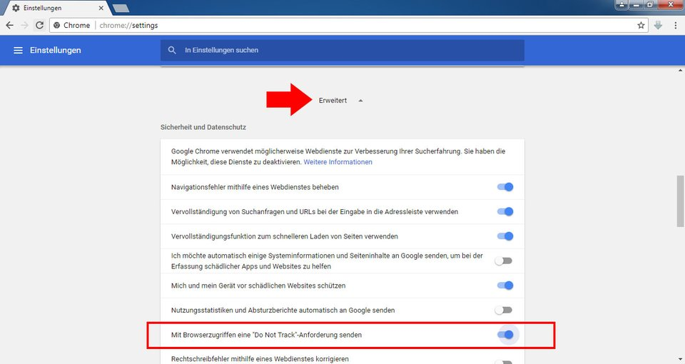 "Hier aktiviert ihr ""Do Not Track"" in Chrome"