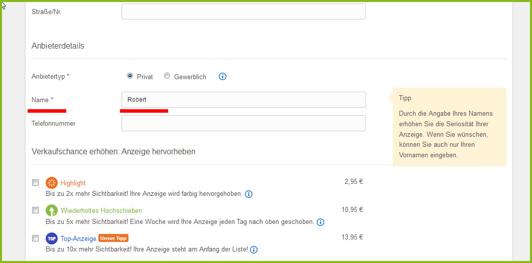 ebay kleinanzeige kontakte