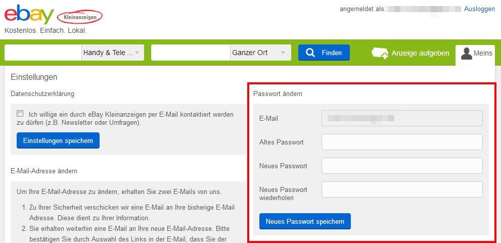 Ebay Kleinanzeigen Passwort ändern So Gehts