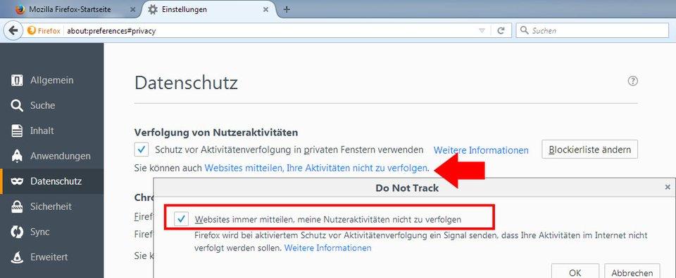 Hier stellt ihr die Funktion in Firefox ein