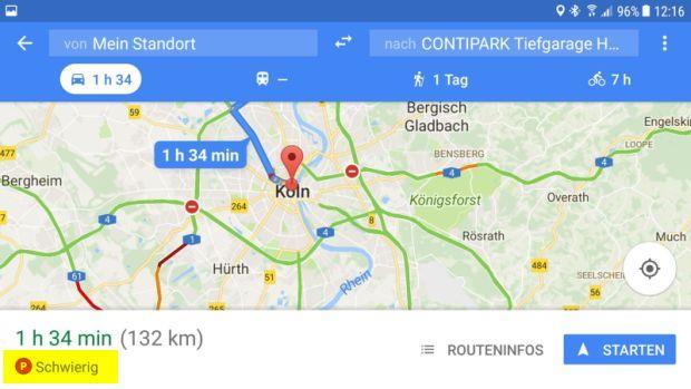 Google Maps unterstützt bei der Parkplatzsuche
