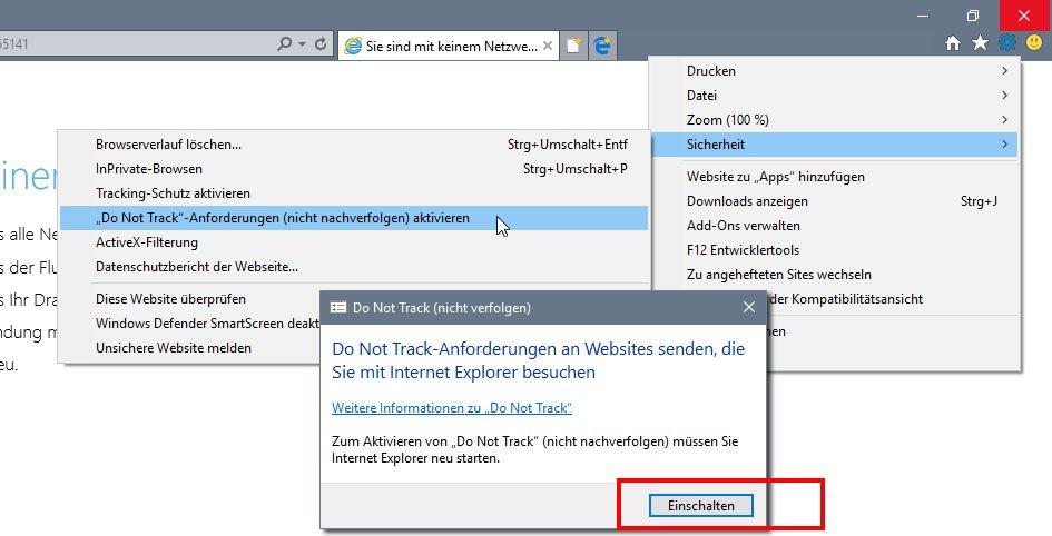 So aktiviert ihr die Do-Not-Track-Funktion im Internet Explorer 11