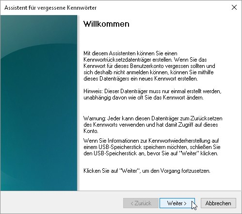 kennwortrücksetzdatenträger windows 7