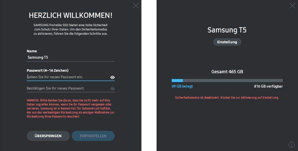 Samsungs Software-Ausstattung für die T5 erfüllt ihren Zweck, ist aber kein Kaufgrund