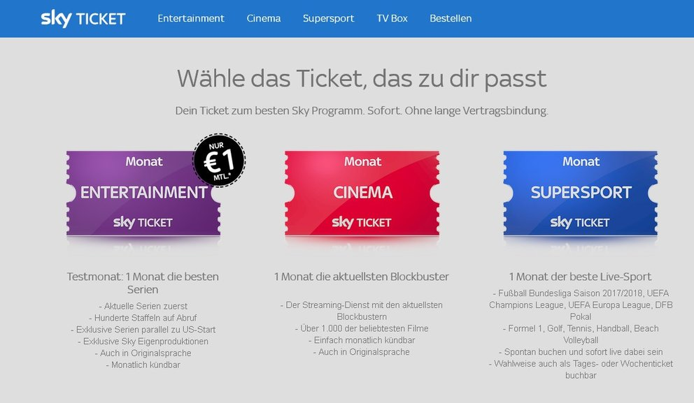 Sky Ticket: Kosten des Entertainment-, Cinema- & Sport-Pakets