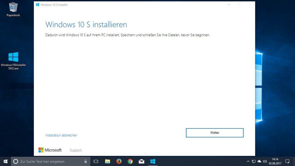 Windows 10 S wird installiert.