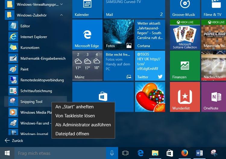 Windows 10: Hier findet ihr das Snipping Tool