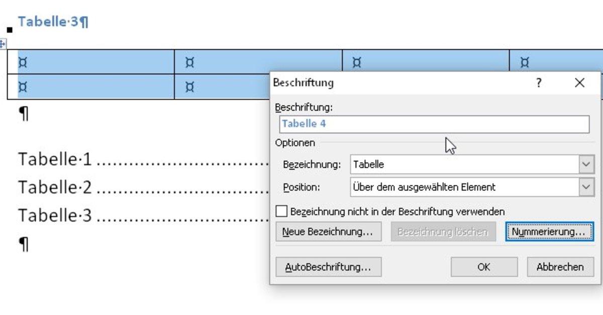 Tabellenverzeichnis word 2013 code promotion next