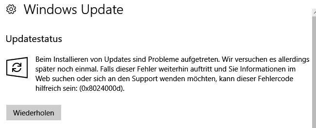Der Windows-Fehlercode 0x8024000d