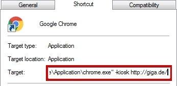 Chrome Kiosk-Modus Verknüpfung