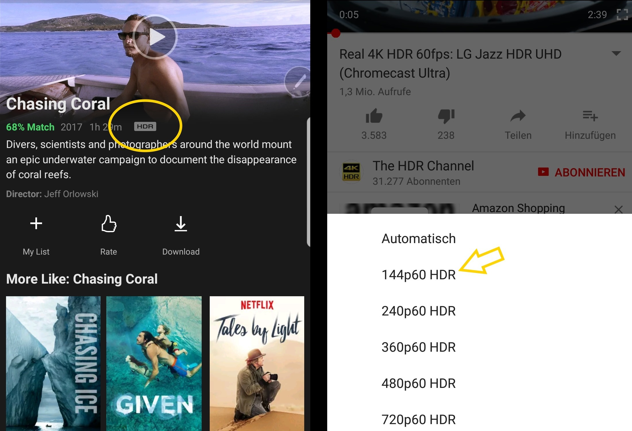 Ausprobiert: HDR auf dem Samsung Galaxy Note 8 lässt YouTube