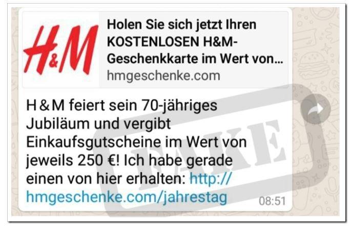 H&M WhatsApp Gutschein