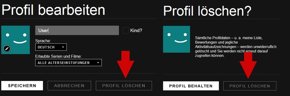 Netflix Profil löschen Browser
