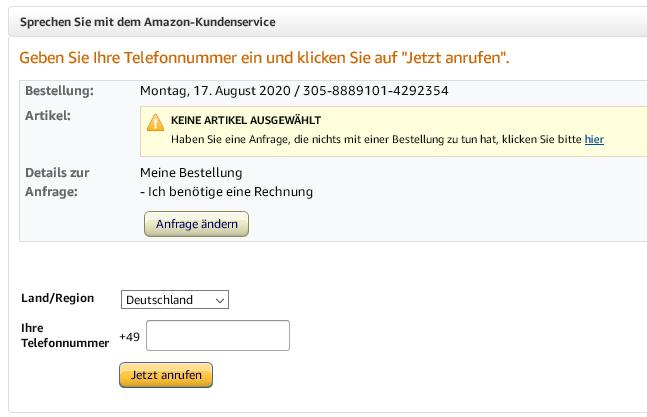 Telefonnummer Amazon Kundendienst