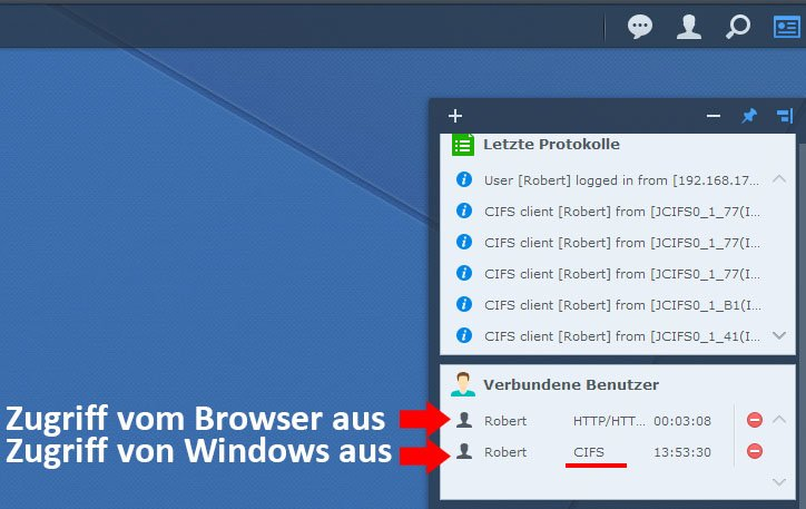 Per CIFS greift der Windows-Client auf den Synology-Server zu